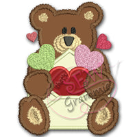 Valentine Bear Applique Design