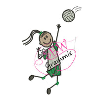 Volleyball Girl FILLED Embroidery Design Striker