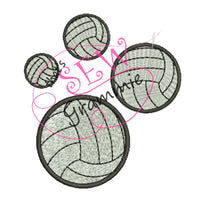 Volleyball FILLED Embroidery Design