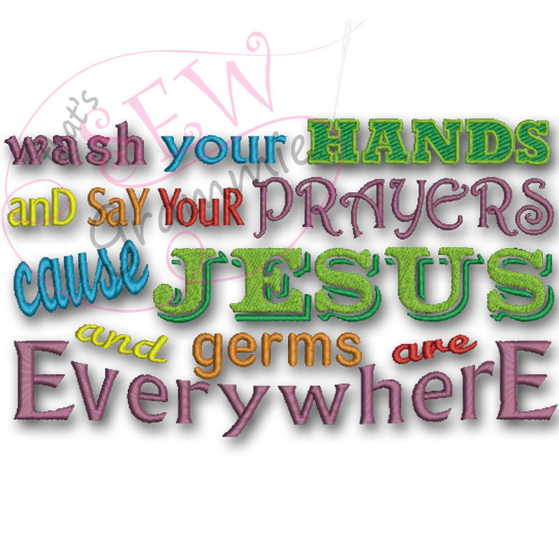 Wash Your Hands Embroidery Design LARGE