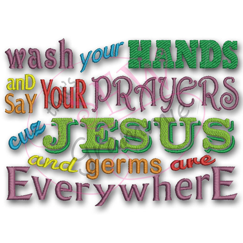 Wash your Hands Embroidery Design 5x7