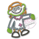Zombie Girl Applique Design #1