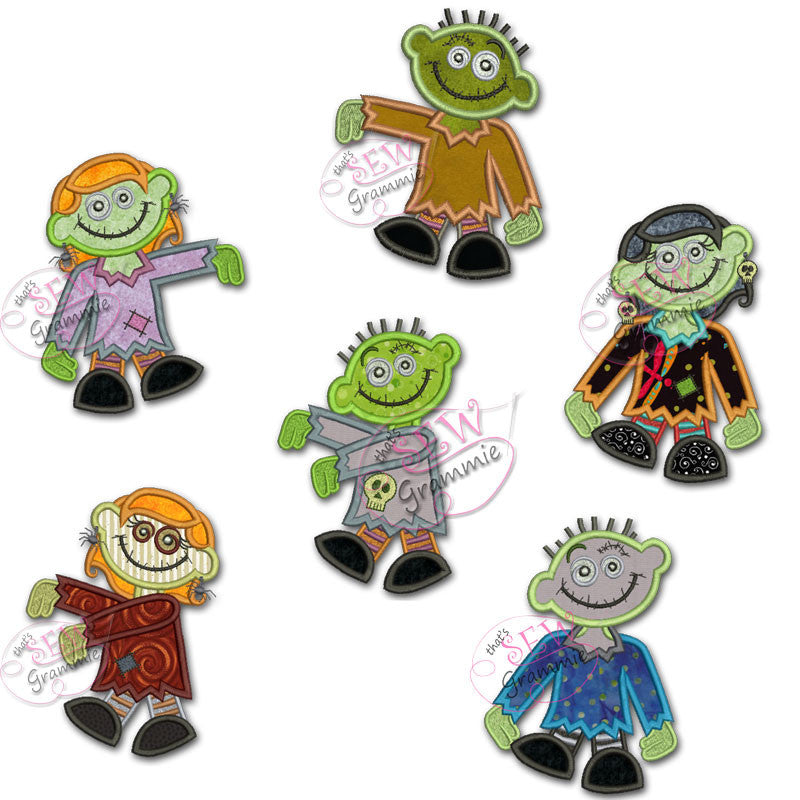 Zombie Applique Designs Complete SET of 6