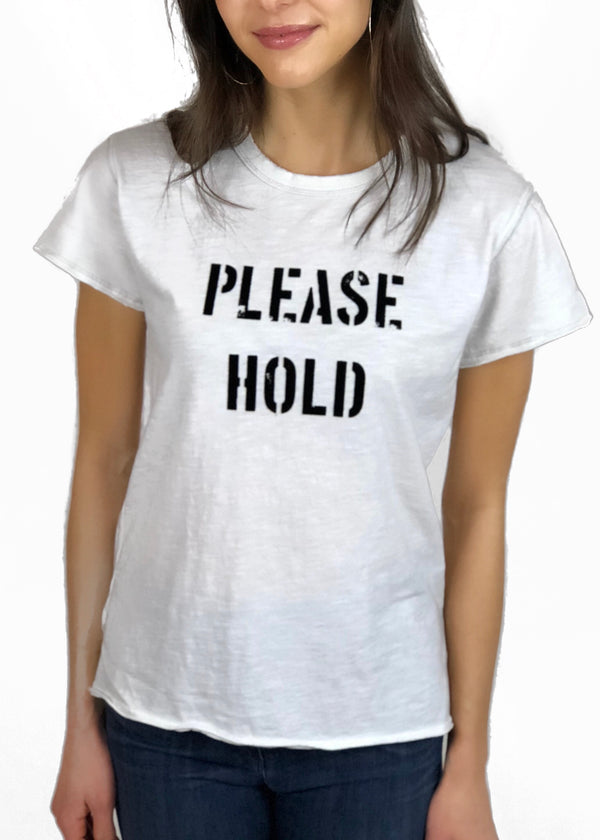 Please Hold White Tee