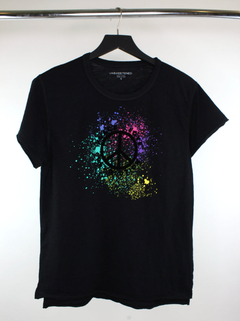 Peace Love Splatter Black Tee