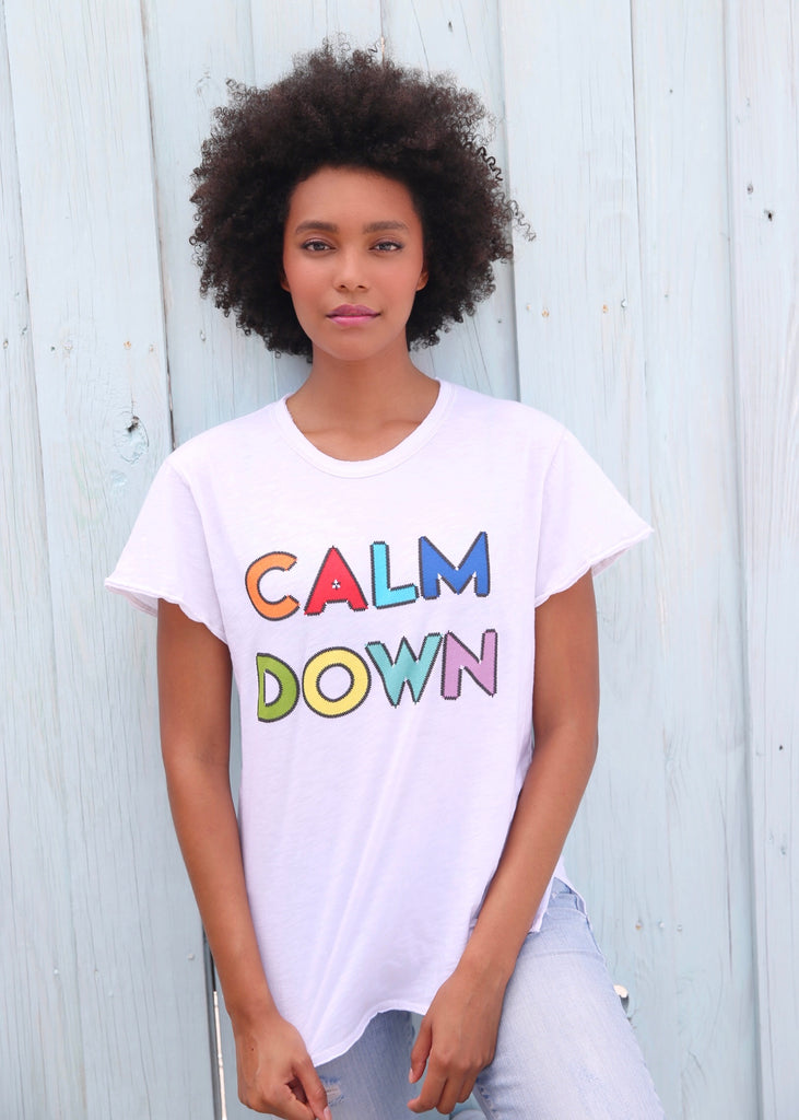 Calm Down White Tee