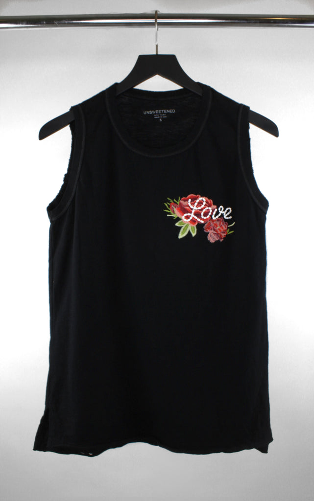 Rosebud Black Muscle Tank