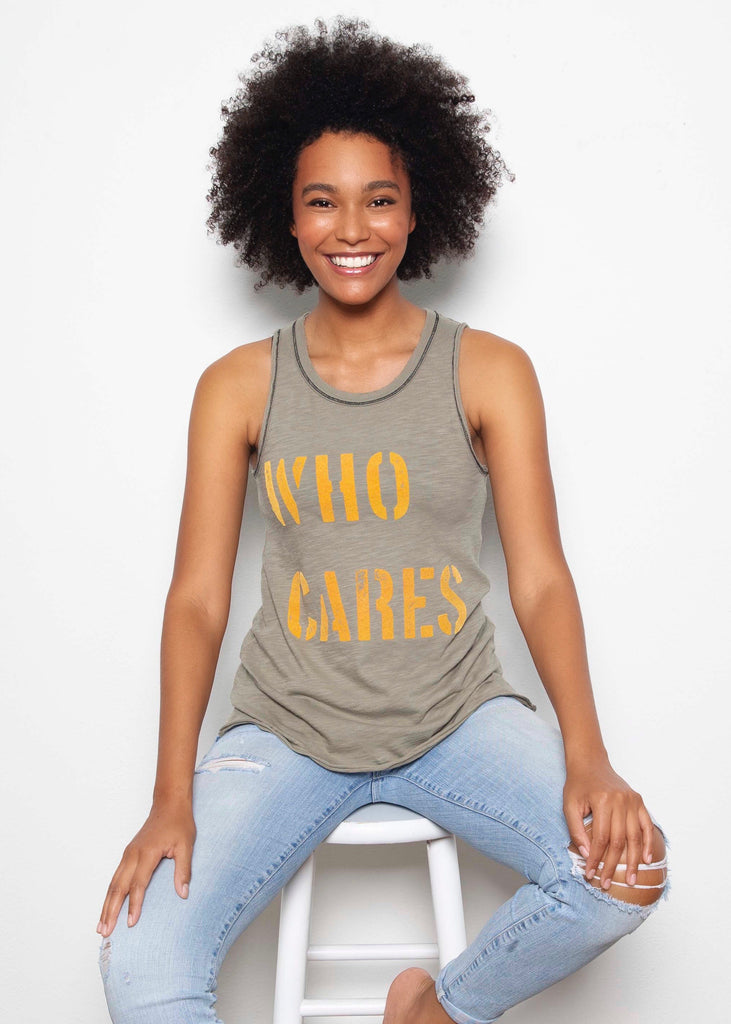 Who Cares Army Muscle Tank