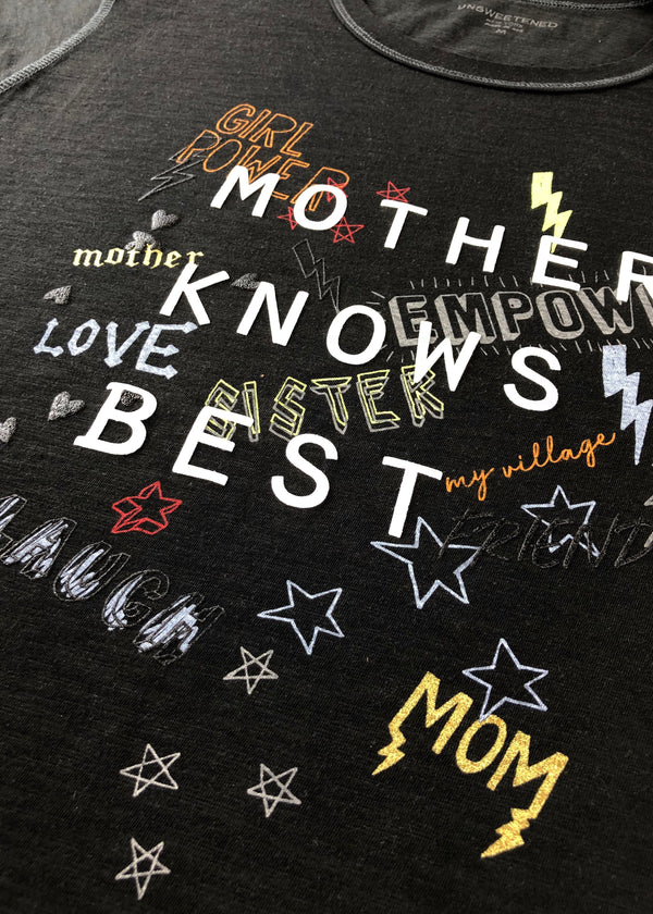 Mother Knows Best Black Tee