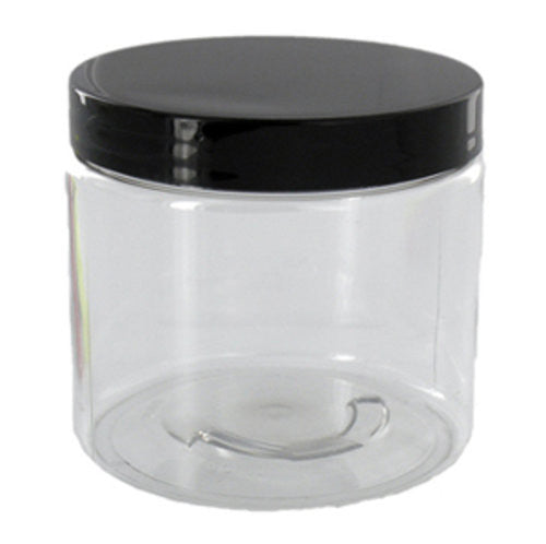 16 oz Clear Jar w/Black Lid
