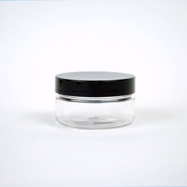 2 oz Low Profile Plastic Jar w/ Black Lid