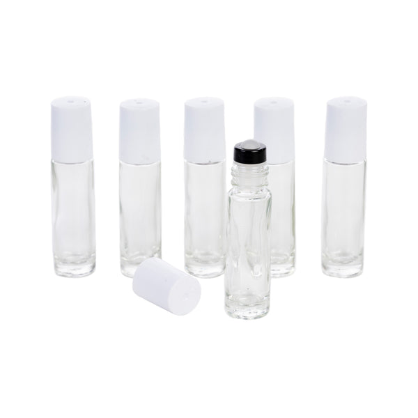 10ml Clear Rollerball w/Glass Roller - 2 Lid Color Options