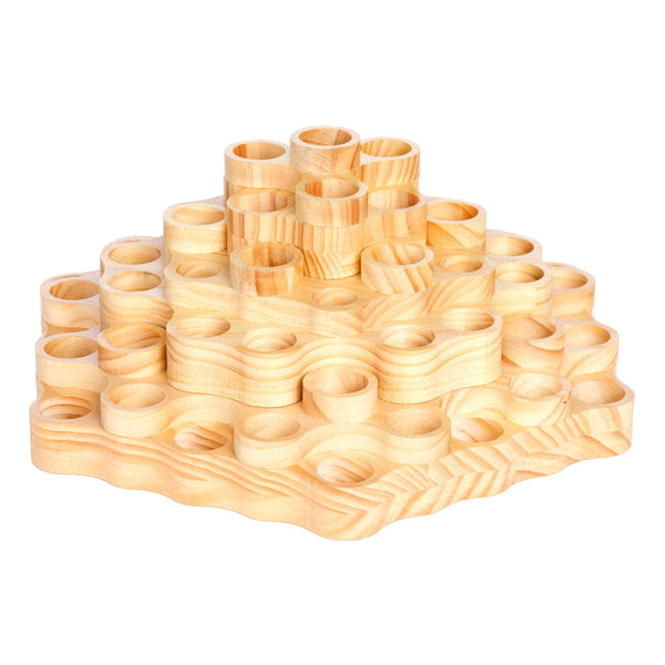2-tier rotating spindola essential oil display wooden from the top