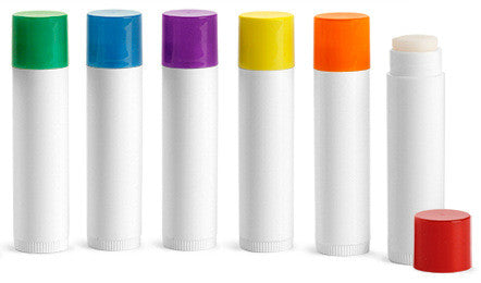 Lip Balm Tubes with Multi Colored Lids (6pk)