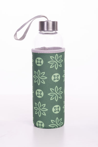Glass Water Bottle with Neoprene Sleeve - Green