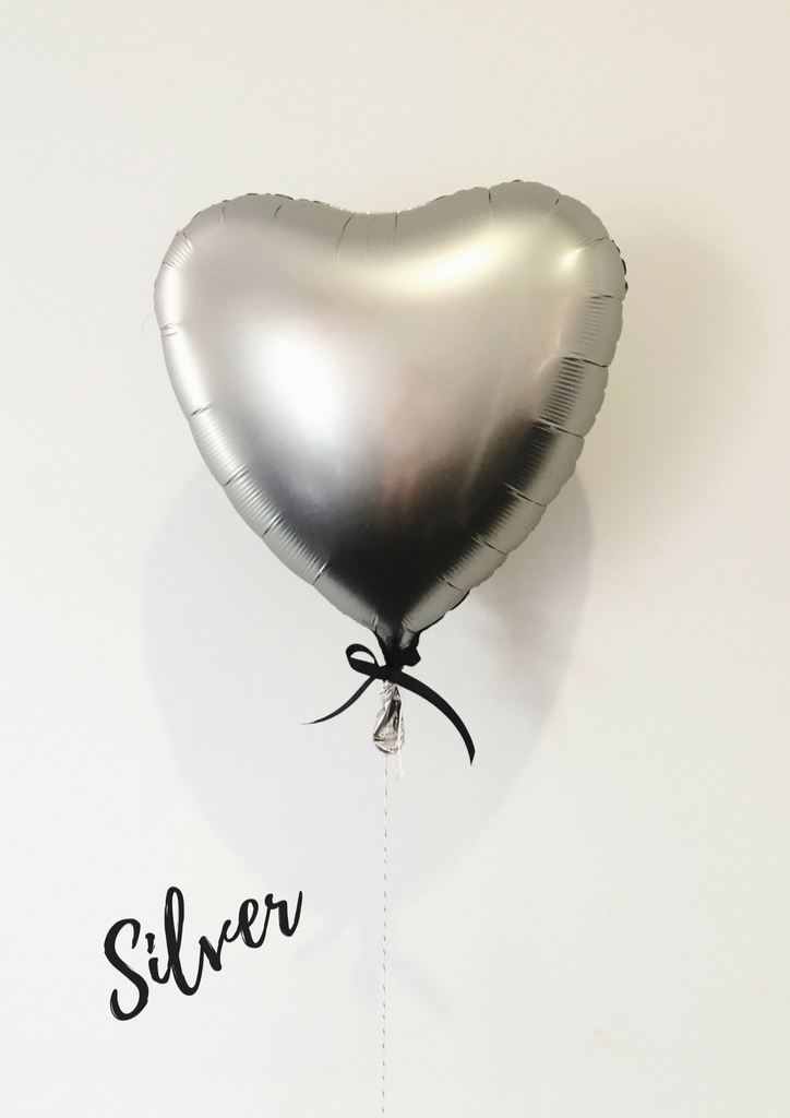 silver love heart balloon