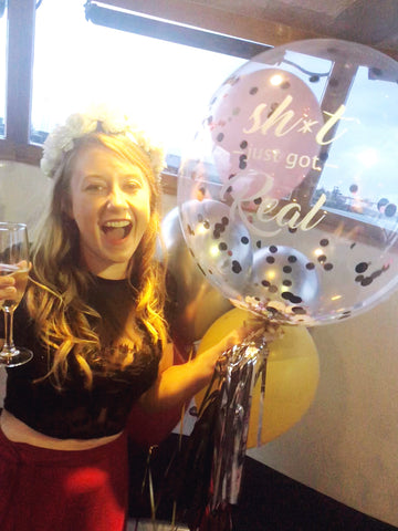 """Sh*t got real"" XL bubble balloon for hen parties or engagements"