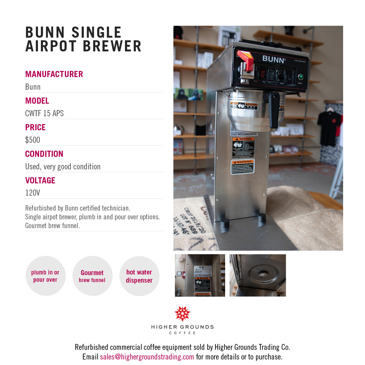Bunn CTWF single airpot coffee for sale from Higher Grounds Coffee