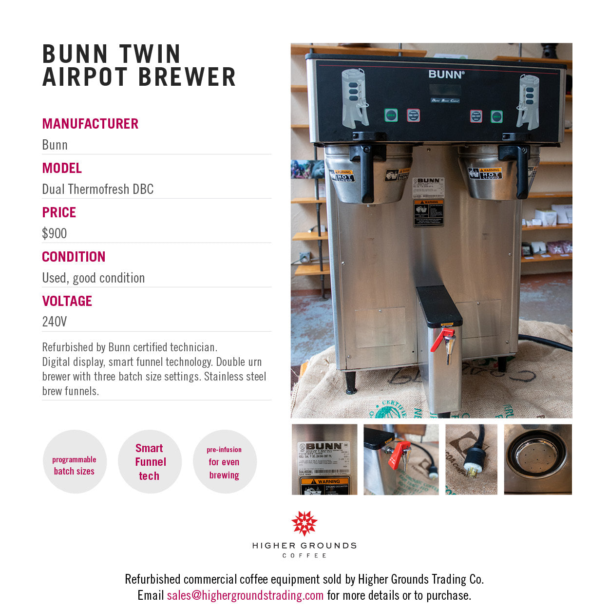 Bunn Dual ThermoFresh DBS coffee brewer for sale from Higher Grounds Coffee