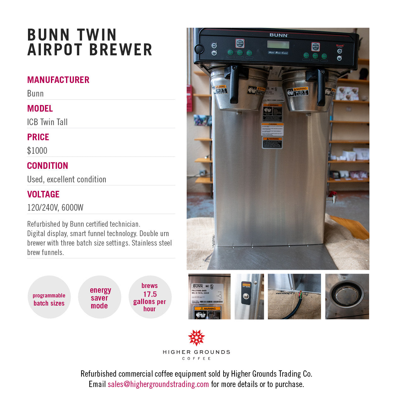 Bunn ICB Twin Tall brewer for sale from Higher Grounds Coffee