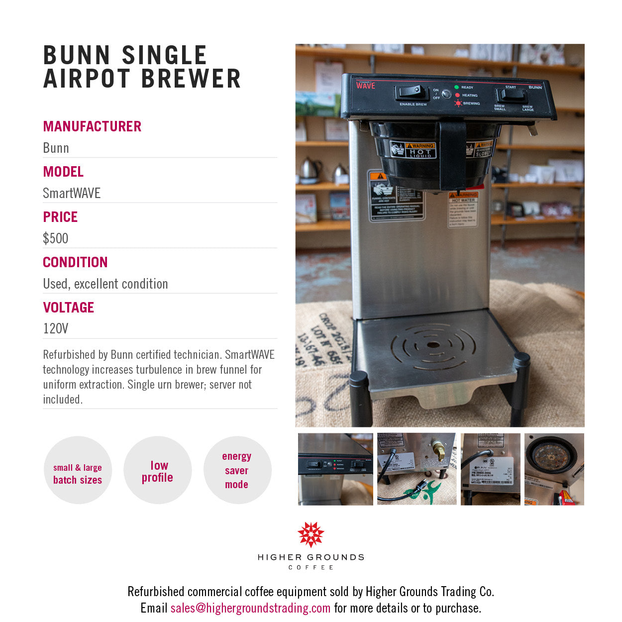 Bunn SmartWAVE brewer for sale from Higher Grounds Coffee