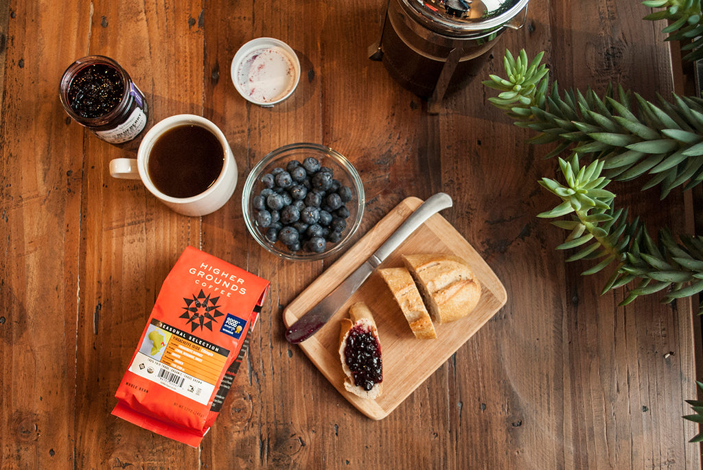 Ethiopian Yirgacheffe Idido paired with Food For Thought's Blueberry Lavender preserves.