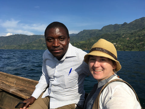 Jennifer and Daniel on the boat to Nyabirehe