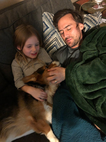 Tim with daughter June and their dog