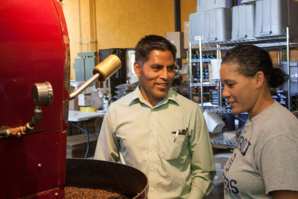 Jose with Karin at roaster, October 2016