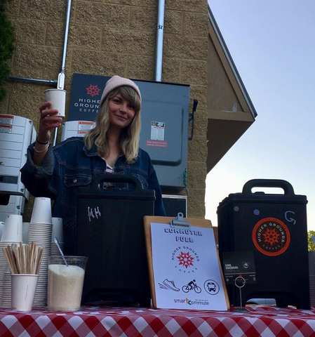 Lana serving coffee at Oryana for Smart Commute Week 2019