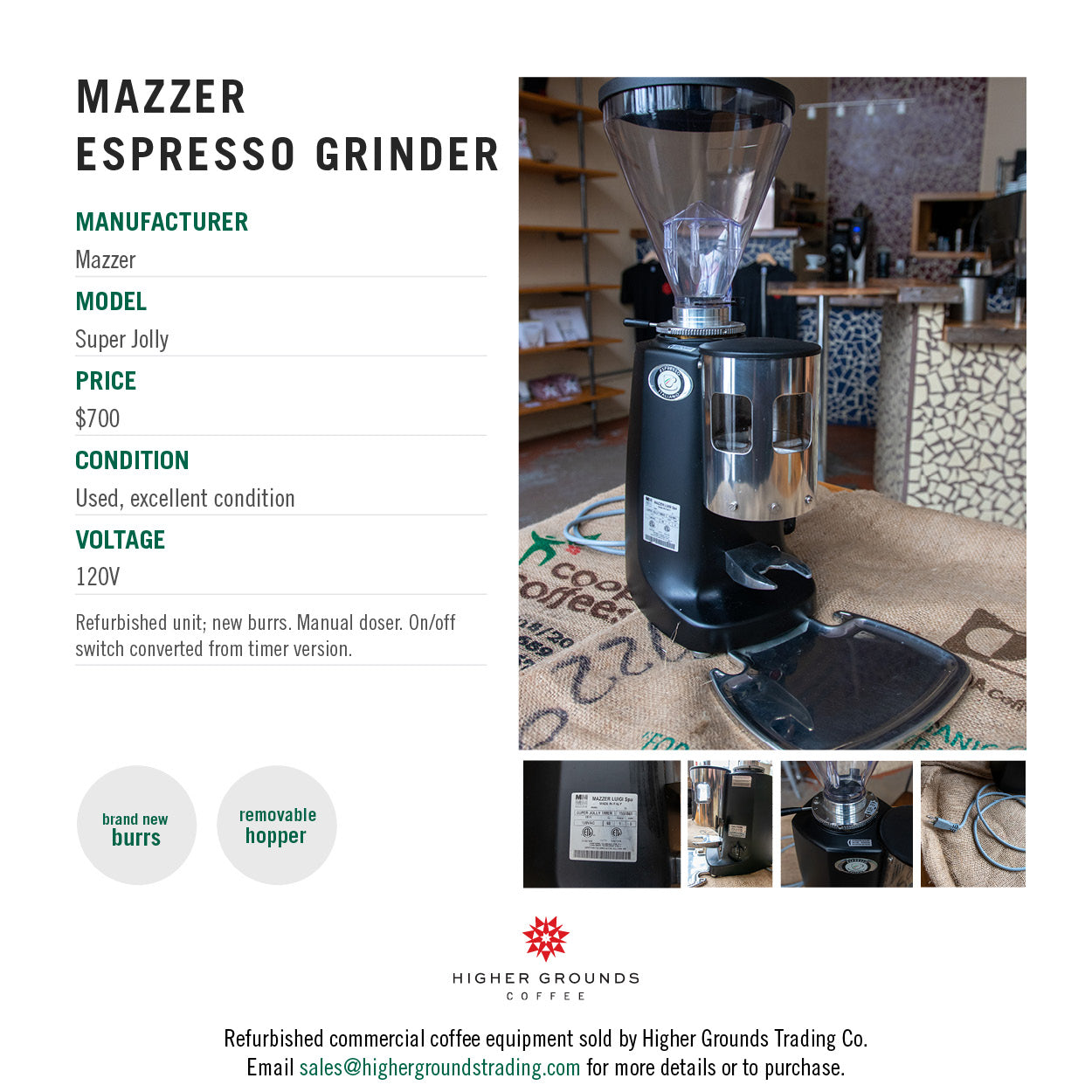 Mazzer Super Jolly espresso grinder for sale from Higher Grounds Coffee
