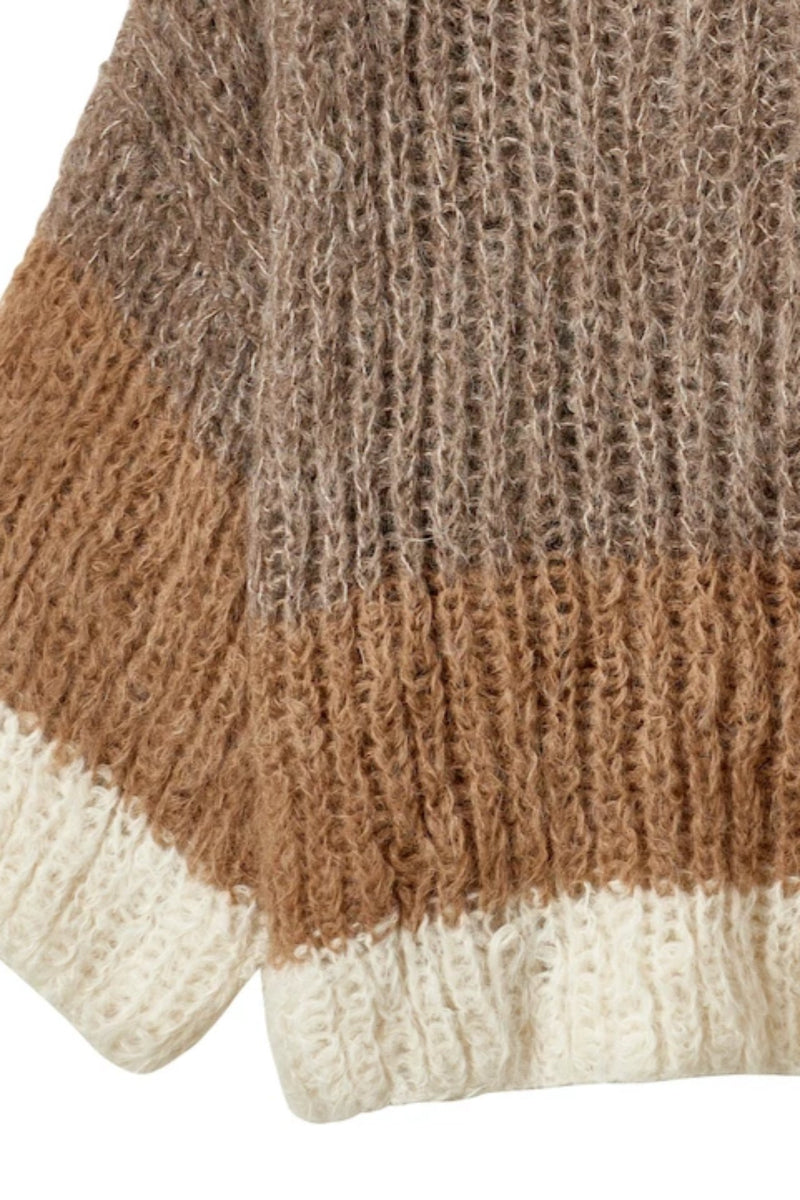 Brioche Funnel Neck Hand Knit Sweater
