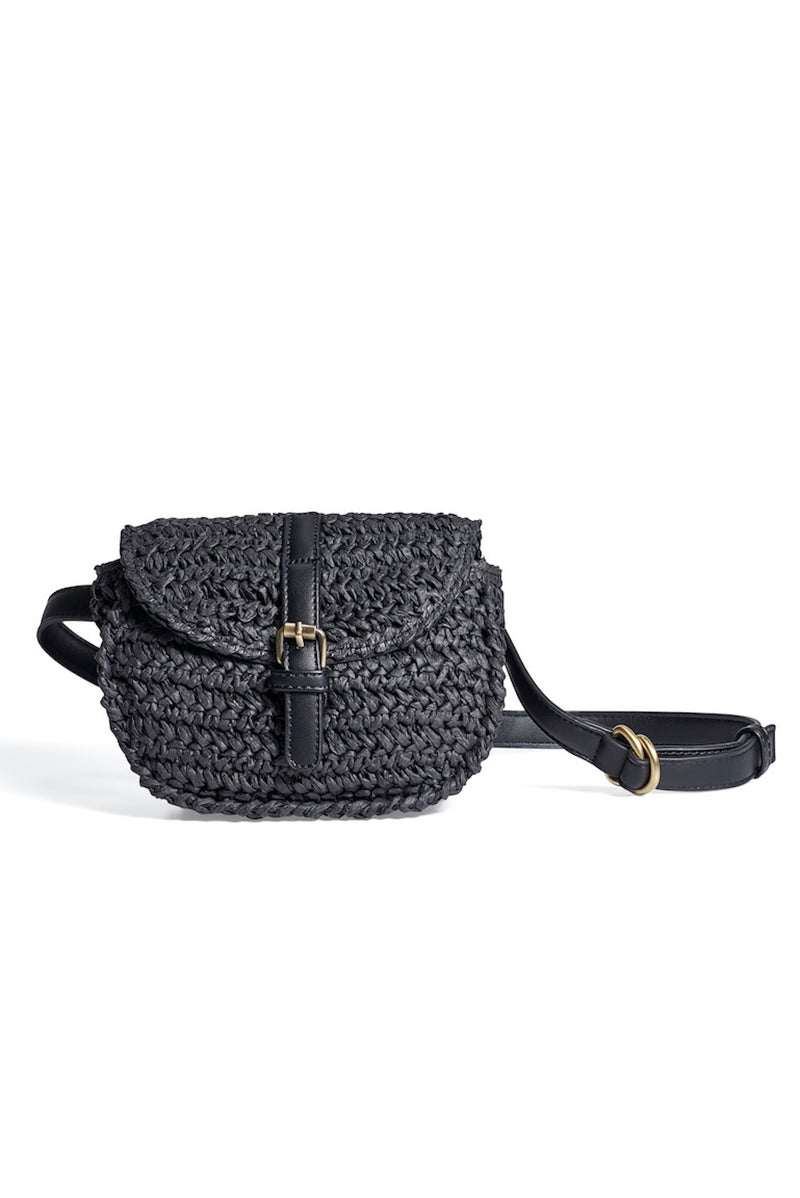 Black Woven Belt Bag