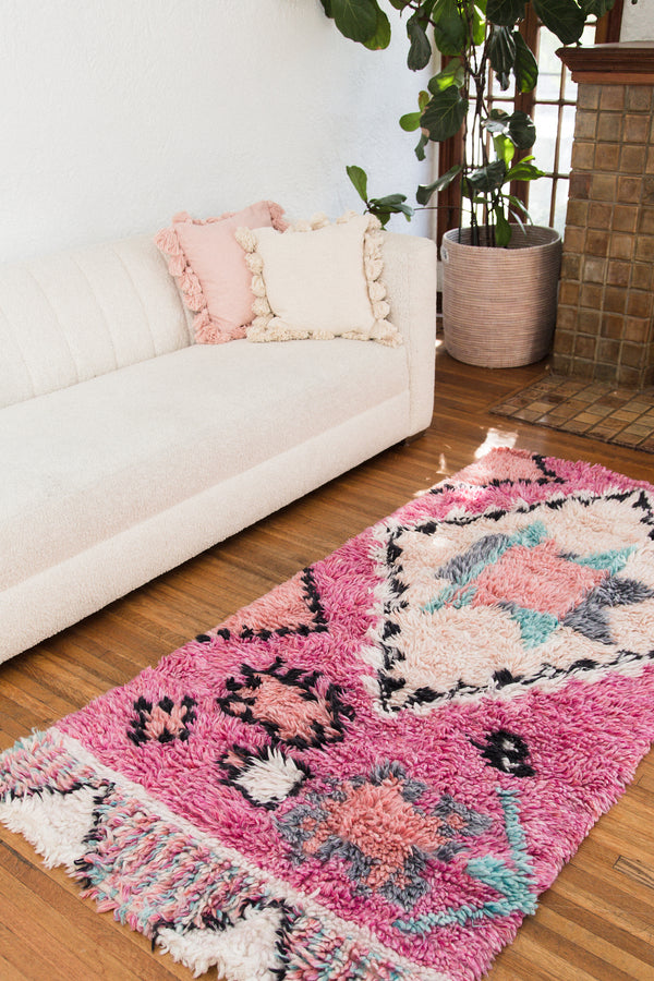 Pink Mixed Pattern Area Rug