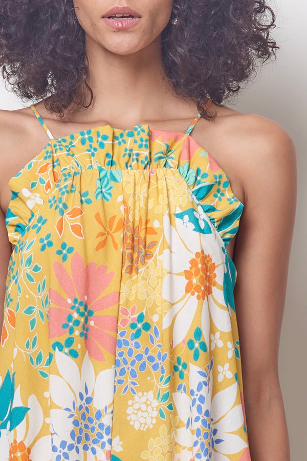 HARPER Ruffle Top Swing Sun Dress - Flower