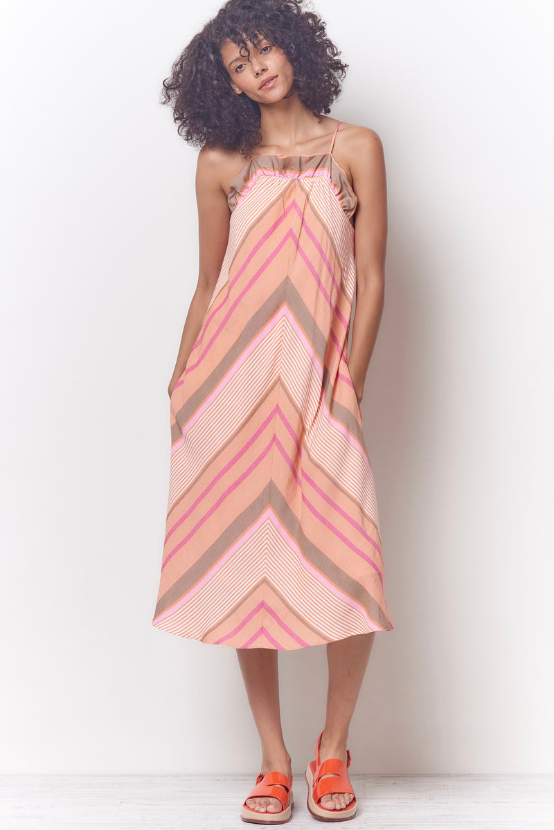 HARPER Ruffle Top Swing Sun Dress - Stripe