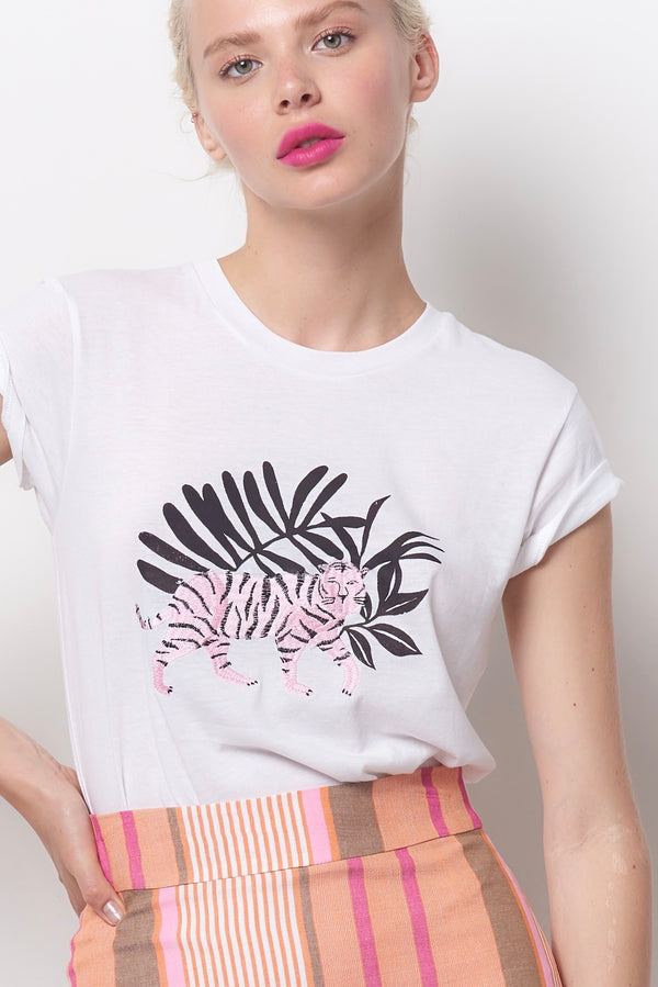 YVETTE Embroidered Tiger Tee