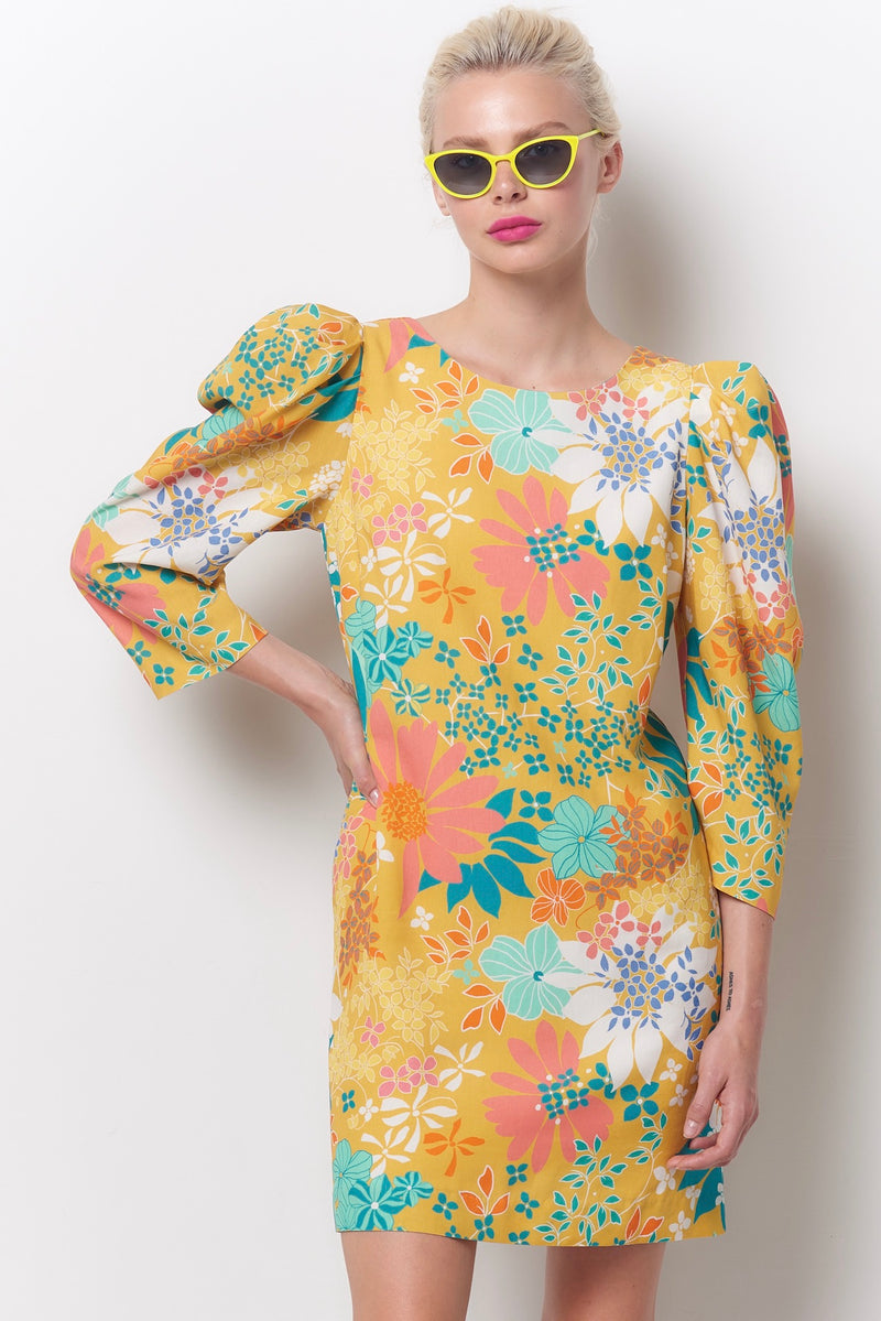 DOLLY Puff Sleeve Shift Dress - Flower Power