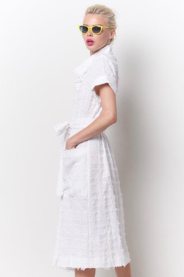 MILLY Cowl Neck Dress - White