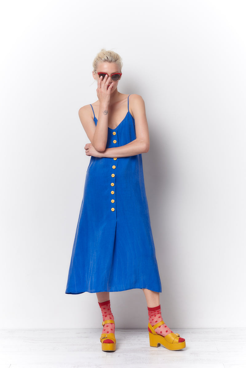 DITA Slip Dress with Buttons - Cupro