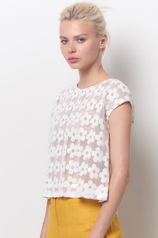 AMALA Tee Top - Daisy Sequin