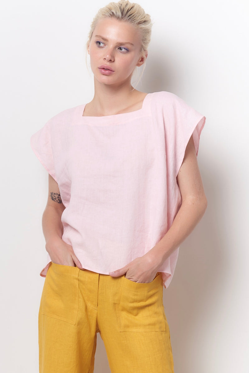 TINA Square Neck Top - Linen
