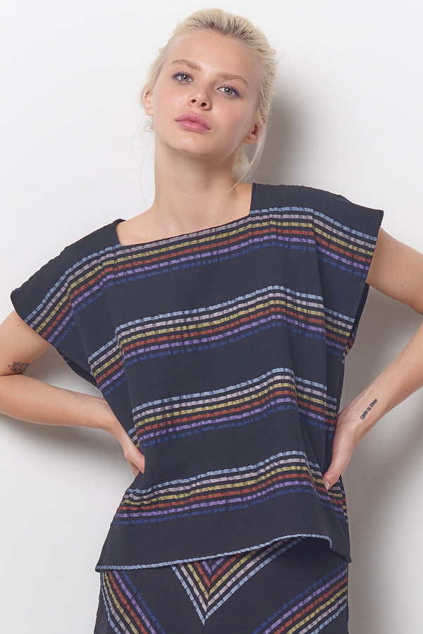 TINA Square Neck Top - Stripe