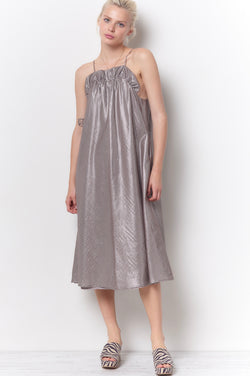 HARPER Ruffle Top Swing Sun Dress - Metallic