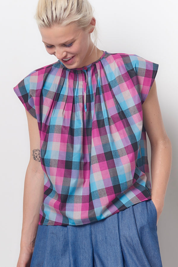 MAGGIE Pleat Neck Top - Plaid
