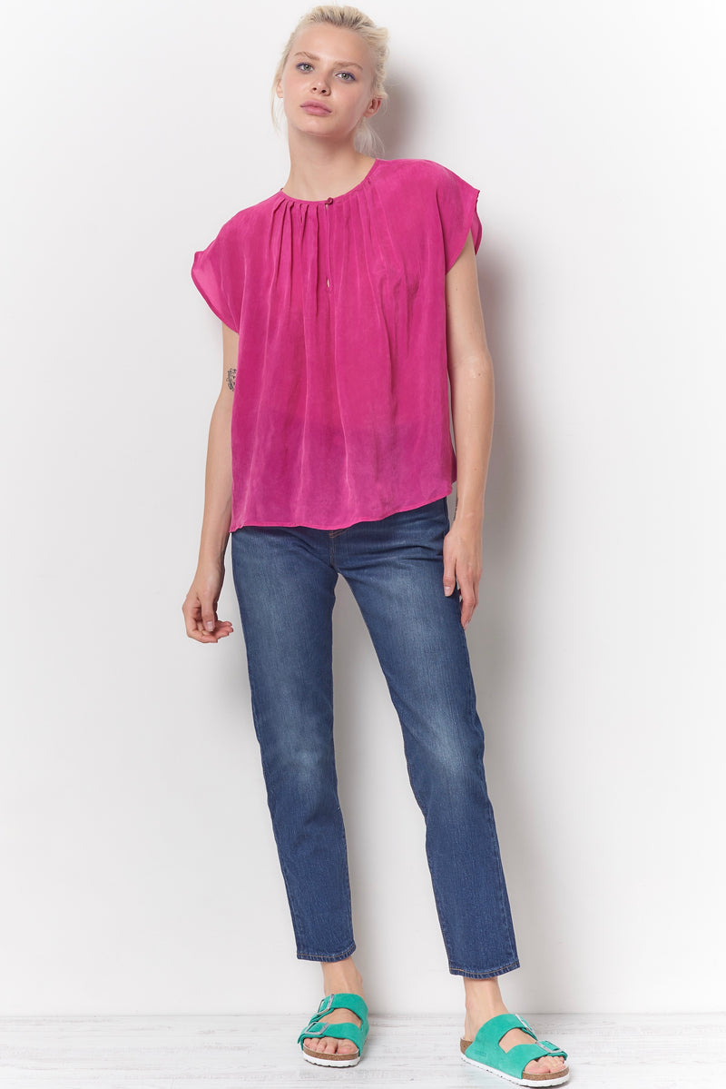 MAGGIE Pleat Neck Top - Cupro