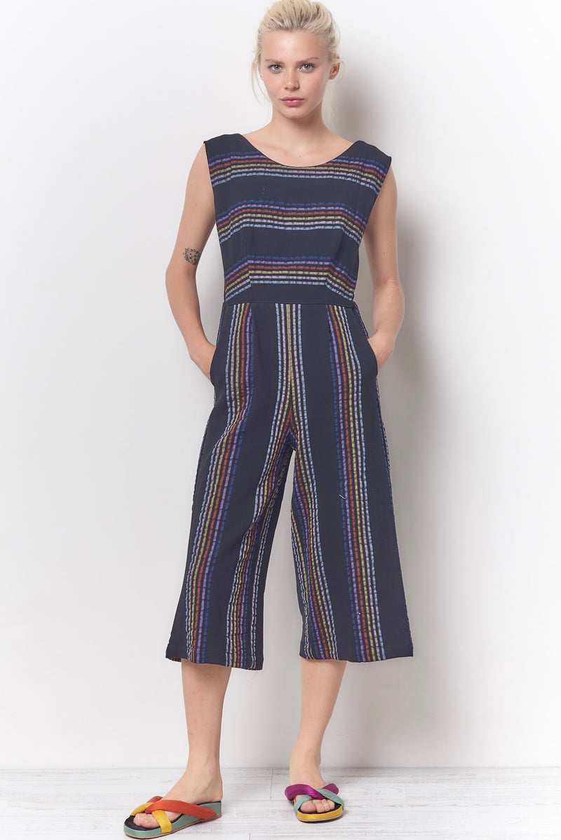 CRYSTAL Tie Back Jumpsuit - Stripe