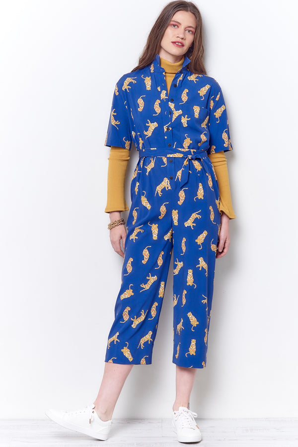 ANAIS Shirt Style Jumpsuit - Royal Tiger