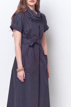 MILLY Cowl Shirt Dress - Poplin