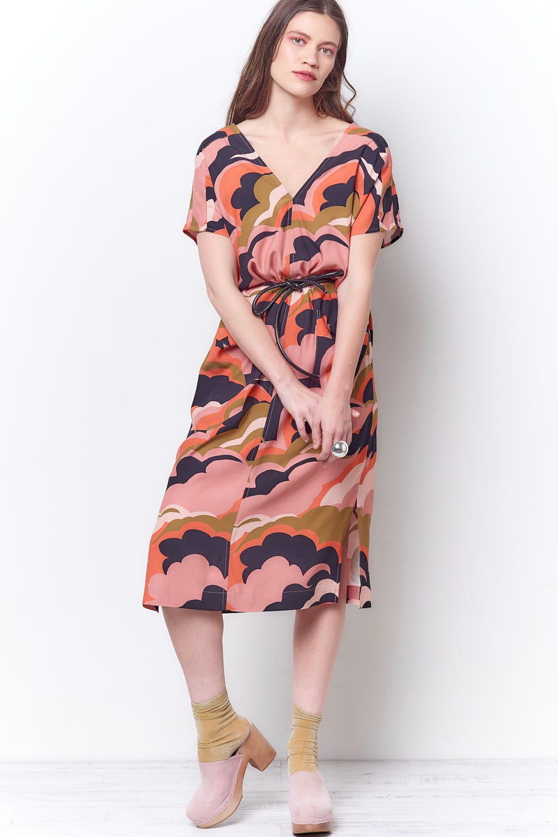 JADE V Sheath Dress - Clouds